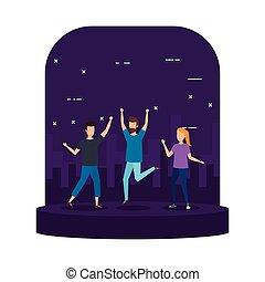 célébrer, groupe, jeunes