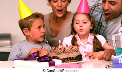 célébrer, heureux, birthda, famille
