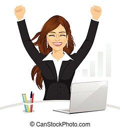 célébrer, heureux, femme affaires, séduisant