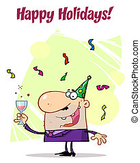 célébrer, homme, holidays!, heureux