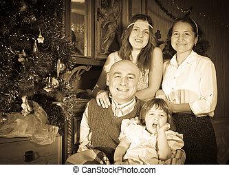 célébrer, noël famille, heureux