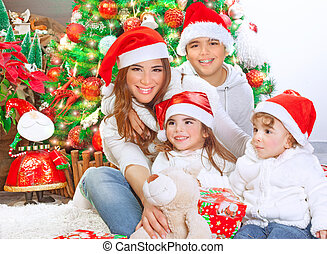 célébrer, noël heureux, famille