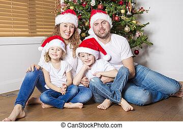 célébrer, noël heureux, maison famille
