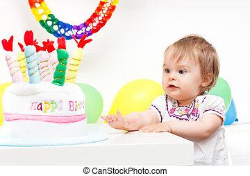 célébrer, peu, fille anniversaire, premier
