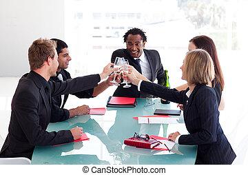 célébrer, reussite, equipe affaires