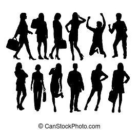célébrer, silhouettes, reussite, homme affaires