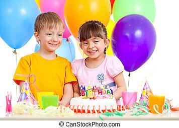 célébrer, sourire, anniversaire, enfants, fête