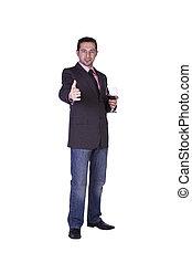 célébrer, verre, homme affaires, boisson