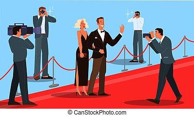 célébrité, deux, vecteur, illustration, moquette, rouges