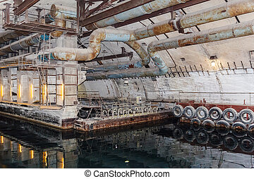 cél, tengeralattjáró, háború, alap, föld alatti, bunker,...