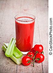 céleri, jus, tomate, frais, vert, tomates, verre