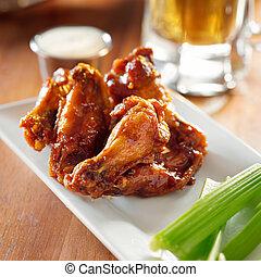 céleri, ranch., buffle, ailes, barbecue