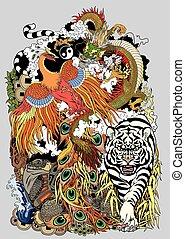 céleste, animaux, illustration, quatre