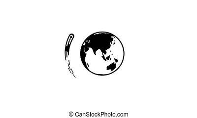 céleste, autour de, voler, la terre, comète, corps, ...