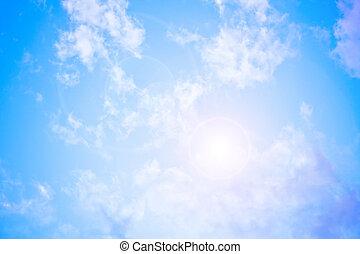 céleste, bleu clair, ciel, à, cornet alimentation soleil