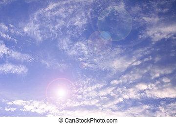 céleste, bleu clair, ciel, à, faisceau soleil