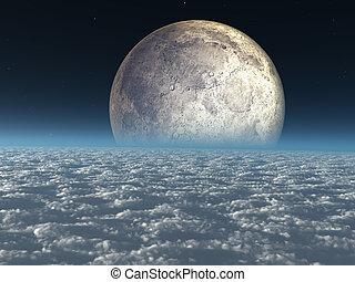 céleste, nuages, au-dessus, lune