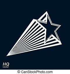 céleste, pentagonal, vecteur, objet