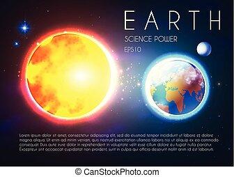 céleste, stars., espace, soleil, nackground., planète, réaliste, la terre, univerce, briller, design.
