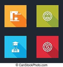 céltábla, fokozatokra osztás, állhatatos, fej, diplomás, dollár, csésze, sapka, icon., gép, kávécserje, vadászat, vektor