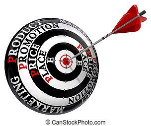céltábla, p, alapelvek, négy, marketing