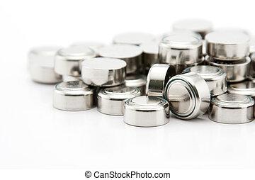 célula, botão, pilha, baterias