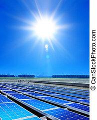 célula, campo, matriz, solar