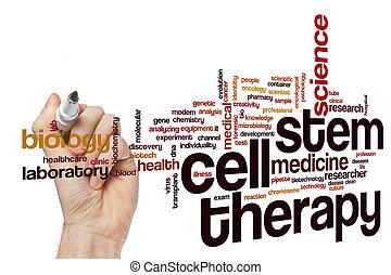 célula de vástago, terapia, palabra, nube