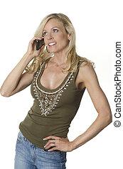 célula, falando,  ph, mulher, atraente