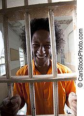 célula, feliz, hombre, prisión
