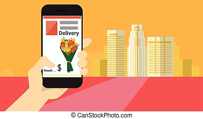 célula, flor, telefone, mão, entrega, aplicação, online,...