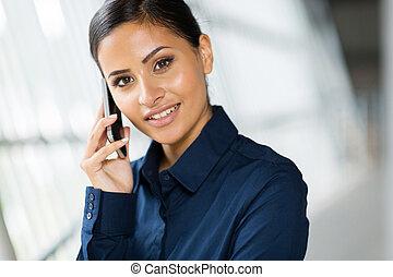 célula, hablar, mujer, teléfono