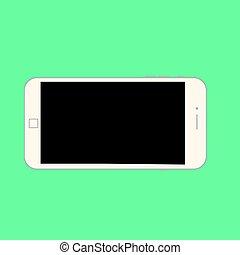 célula, móvel, smartphone, fundo, modernos, isole, telefone, vector., vetorial, verde, experiência., branca