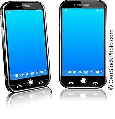 célula, móvil, 2d, teléfono, elegante, 3d