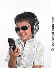 célula, menino, seu, telefone, falando