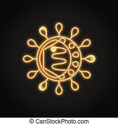 célula, neón, estilo, línea, hepatitis, icono