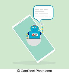 célula, pantalla, chatbot, ayudante, teléfono