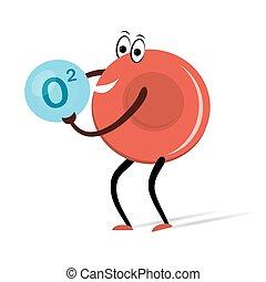 célula, sangue, oxigênio, caricatura, vermelho