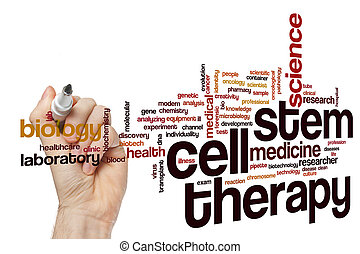 célula, terapia, palavra, nuvem, caule