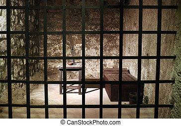 célula, viejo, prisión