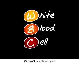 célula, -, wbc, médico, branca, acrônimo, conceito, sangue