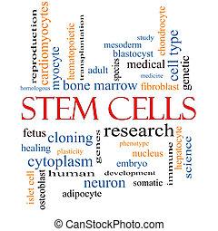 células, concepto, palabra, nube, tallo