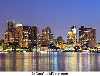 céntrico, boston, contorno, urbano