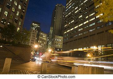 céntrico, boston, noche