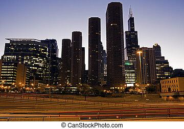 céntrico, carretera, chicago
