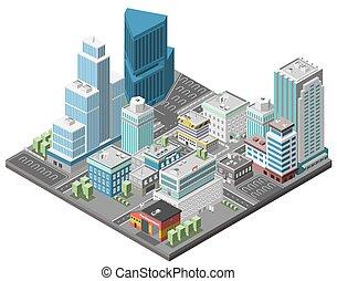 céntrico, ciudad, concepto