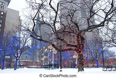 céntrico, cleveland, ohio, durante, winter.