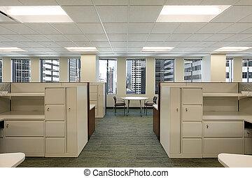 céntrico, edificio, cubículos, oficina