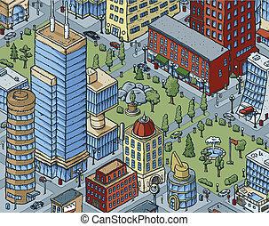 céntrico, escena de la ciudad
