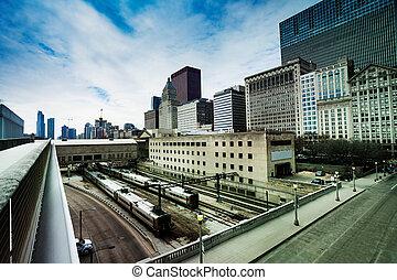 céntrico, estación, trenes, barandas, chicago